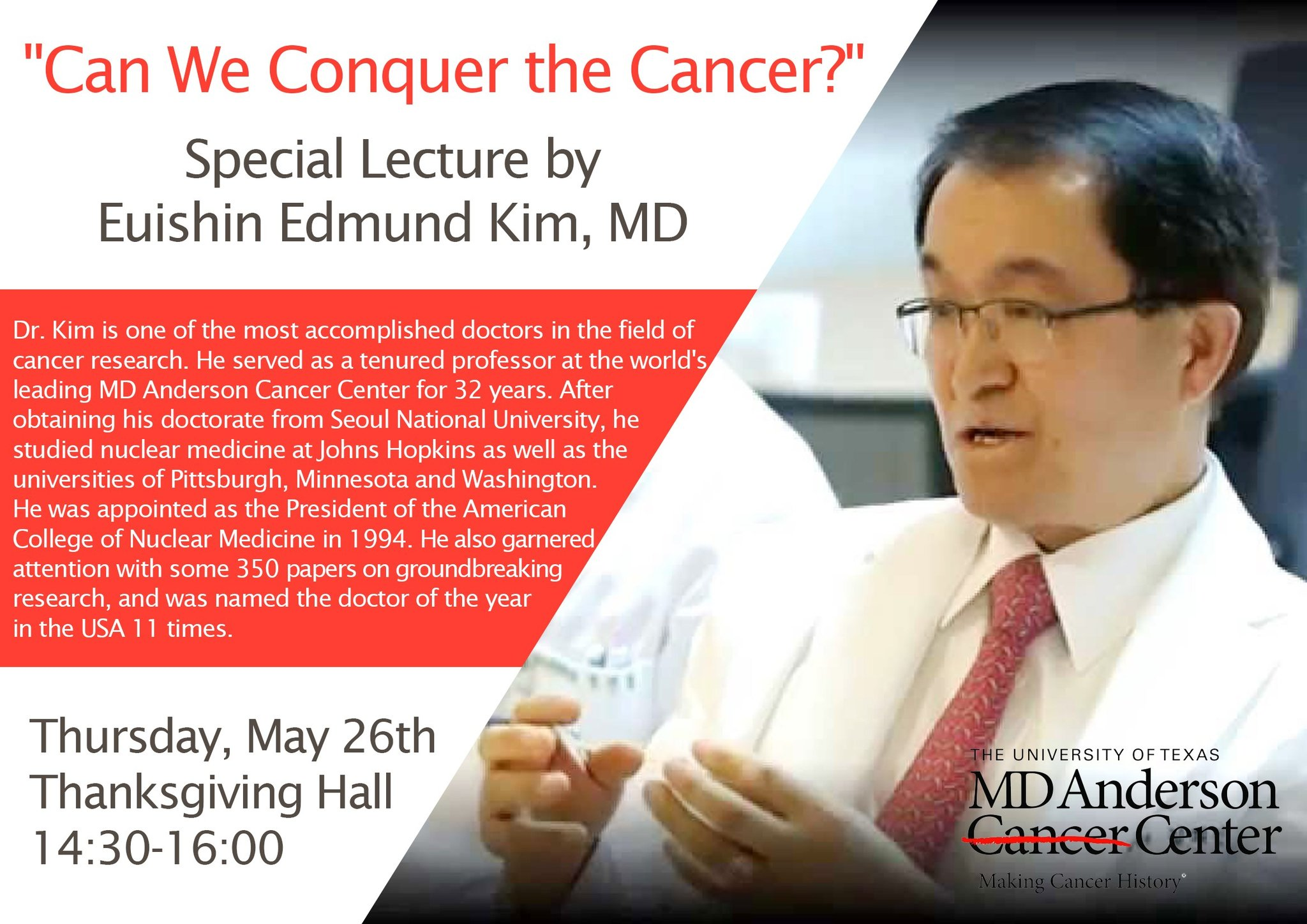 May 26th – SPECIAL LECTURE: Dr  Euishin Edmund Kim